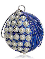 Women Bags All Seasons Polyester Evening Bag with Rhinestone Pearl Detailing Bead Chain Tassel for Event/Party Blue Gold Black Silver Red