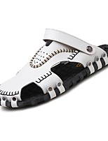 Men's Sandals Comfort Real Leather Nappa Leather Spring/Fall Summer Casual Outdoor Office & Career Comfort Studded Flat HeelBrown Black