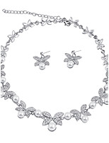 Women's Jewelry Set Pearl Necklace Bridal Jewelry Sets Imitation Pearl Euramerican Fashion Simple Style Classic Chrome Flower Bowknot For
