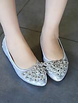 Для женщин Мокасины и Свитер Удобная обувь Полиуретан Весна Повседневные Удобная обувь Золотой Черный Серебряный Синий На плоской подошве
