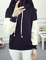Women's Petite Daily Chapel Train Hoodie Solid Patchwork Shiny Metallic Hooded strenchy 100%Cotton Long Sleeve Spring Fall