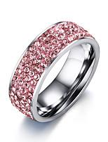 Damen Ring Kubikzirkonia bezaubernd Elegant Kubikzirkonia Titanstahl Runde Form Schmuck Für Hochzeit Party Verlobung Alltag Zeremonie