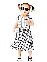 Girl's Geometric Dress Cotton Summer Sleeveless Plaid Checks Kids Girls Dress for Toddler Girls Clothes