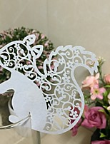 50PCS/Lot Squirrel  Shape Wine Glass Card For Wedding Laser Cutting Paper Name Place Card Cup Card Wedding Baby Shower Decorations Supplies