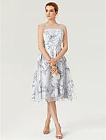 Coquetel Vestido - Frente Única Transparente padrão Vestido Linha A Até os Joelhos Renda Tule com Estampa Faixa / Fita