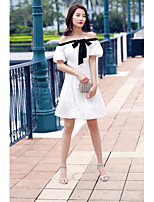 AGD Women's Going out Casual/Daily Simple Cute A Line Chiffon DressSolid Boat Neck Above Knee Sleeveless Cotton Polyester TaffetaSpring