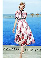 Swing Vestito Da donna-Per uscire Romantico Fantasia floreale Colletto alla coreana Maxi Manica corta Cotone Estate A vita medio-alta