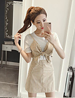 Women's Other Casual Other Summer T-shirt Dress Suits,Grid/Plaid Patterns Round Neck Short Sleeve