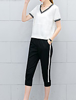 Women's Daily Casual Casual Active Summer T-shirt Pant Suits,Solid Striped Color Block Round Neck Short Sleeve Micro-elastic