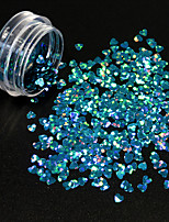 1g/Bottle Fashion Gorgeous Lake Blue Heart Shape Glitter Sequins Starry Shining Design Nail Art Lovely DIY Beauty Paillette 3D Decoration 1400W