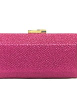 Women Evening Bag Metal All Seasons Event/Party Rectangular Push Lock Fuchsia Silver Champagne
