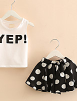 Girl's Fashion And Lovely Sleeveless Letters T-shirt Vest Dot Wave Skirt Suit Two-Piece