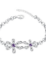 Women's Chain Bracelet  Fashion Vintage Amethyst Fine Silver Flower ShapeJewelry For Wedding Anniversary Party/Evening Dailywear Engagement
