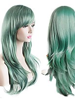 Women's Heat Resistant 70cm Long Curly Hair Wig with Wig Cap Wave New Green Color Heat Resistant Wig