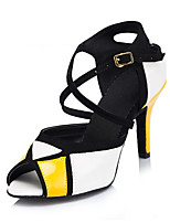 Women's Latin Synthetic Heels Indoor Splicing Color Block Stiletto Heel Golden/White 2