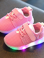 Kids Boys Girl's Sneakers Light Up Shoes Leather Tulle Spring Summer Fall Casual Outdoor Walking Light Up Shoes LED Hook & Loop Lace-up Low Heel