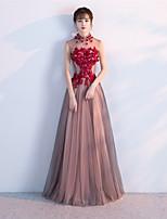 Formeller Abend Hochzeitsfeier Kleid - Muster A-Linie Stehkragen Boden-Länge Tüll mit Perlenstickerei