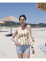 Women's Daily Casual Simple Tank Top,Striped Strap Sleeveless Polyester