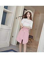 Women's Casual Simple Summer T-shirt Skirt Suits,Letter Round Neck Short Sleeve Micro-elastic
