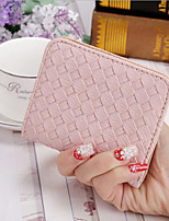 Women Money Clip PU All Seasons Casual Square Zipper Fuchsia Pale Pink Gold