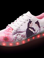 Women's Sneakers Light Soles Summer PU Walking Shoes Casual Lace-up Flat Heel White 2in-2 3/4in