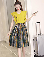 Women's Other Casual Casual Summer T-shirt Skirt Suits,Striped V Neck Sleeveless Micro-elastic