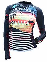 Mulheres Passeios de barco Resistente Raios Ultravioleta Elastano Terylene Tactel Fato de Mergulho Manga Longa Anti Atrito Blusas-Natação