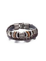 Жен. Муж. Кожаные браслеты Бижутерия Винтаж Кожа Круглый Бижутерия Назначение На каждый день
