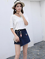 Women's Daily Casual Casual Summer T-shirt Skirt Suits,Solid Print Color Block Round Neck 1/2 Length Sleeve Micro-elastic