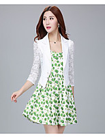 Women's Casual/Daily Simple Summer Blazer,Solid Round Neck ¾ Sleeve Short Others Lace