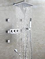 Waterfall Bathroom Shower Faucet Set / Rain Shower Head / Sidespray / Spout / Hand Shower Included / Bath Shower Mixer Valve / Contemporary / Brass