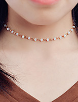 Women's Choker Necklaces Crystal Single Strand Crystal Basic Euramerican Fashion Personalized Simple Style Jewelry ForDaily Casual