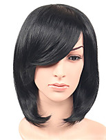 Fashion Straight Black Natural Wigs Side Bang for Women Costume Wigs Cosplay Synthetic Wigs