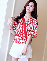 Women's Casual/Daily Simple Summer Blouse,Print V Neck Short Sleeve Polyester