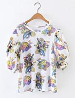 Camicia Da donna Casual Sensuale Con stampe Rotonda Cotone Manica corta