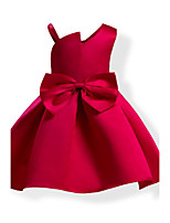 Girl's Fashion Solid Color Bowknot Dress,Cotton All Seasons Sleeveless