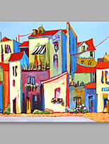 IARTS®Modern Abstract Coast Town & Sailing Boat Street View Oil Painting On Canvas with Stretched Frame Wall Art For Home Decoration Ready To Hang