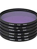 Andoer 72mm uv cpl fld nd (nd2 nd4 nd8) kit de filtre photographique set ultraviolet circulaire polarisant filtre fluorescent neutre