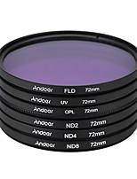 Andoer 72mm uv cpl fld nd (nd2 nd4 nd8) kit de filtro de fotografia ajustado filtro de densidade neutra fluorescente de polarização
