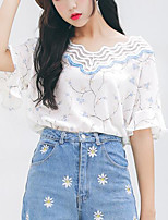Women's Going out Casual/Daily Sexy Street chic Spring Summer Tank Top,Print V Neck Short Sleeve Chiffon Medium