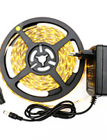 HKV® 1PCS 5M 300LED Strip Light 3528 NO-Waterproof SMD Power Adapter More Brighter 3528 Ribbon String Decorative Lamp Tape DC 12V