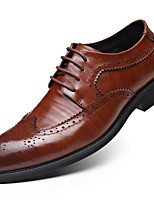 Men's Oxfords Fall Winter Formal Shoes Leather Outdoor Office & Career Party & Evening Dress Casual Light Brown Black Big Size