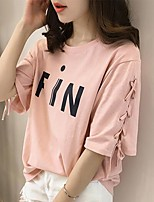Women's Going out Casual/Daily Simple Street chic Summer Fall T-shirt,Print Letter Round Neck Short Sleeve Polyester Medium