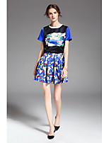 ZIYI Women's Holiday Going out Casual/Daily Work Cute Summer T-shirt Skirt SuitsPrint Round Neck Short Sleeve Pleated Patchwork Inelastic