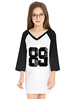 Girls' Solid Color Sequin Patchwork Tee,Cotton Autumn/Fall Summer 3/4 Length Sleeve Long