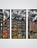 Stretched 3 Pieces Wall Art Painting Amsterdam By The River Pictures Prints   Cityscape for  Wall Decoration Ready to Hang