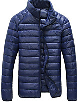 Men's Down Coat,Simple Daily Solid-Cotton Polypropylene Long Sleeve