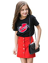 Girls' Embroidered Tee,Cotton Summer Short Sleeve Regular