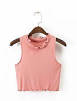 T-shirt Da donna Per uscire Casual Sensuale Semplice Moda città Estate,Tinta unita Rotonda Cotone Senza maniche Sottile Medio spessore