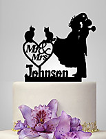 Personalized Acrylic Couple And 2 Cats Wedding Cake Topper